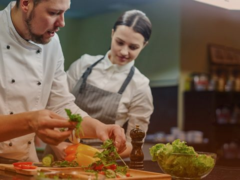 Two chefs in kitchen